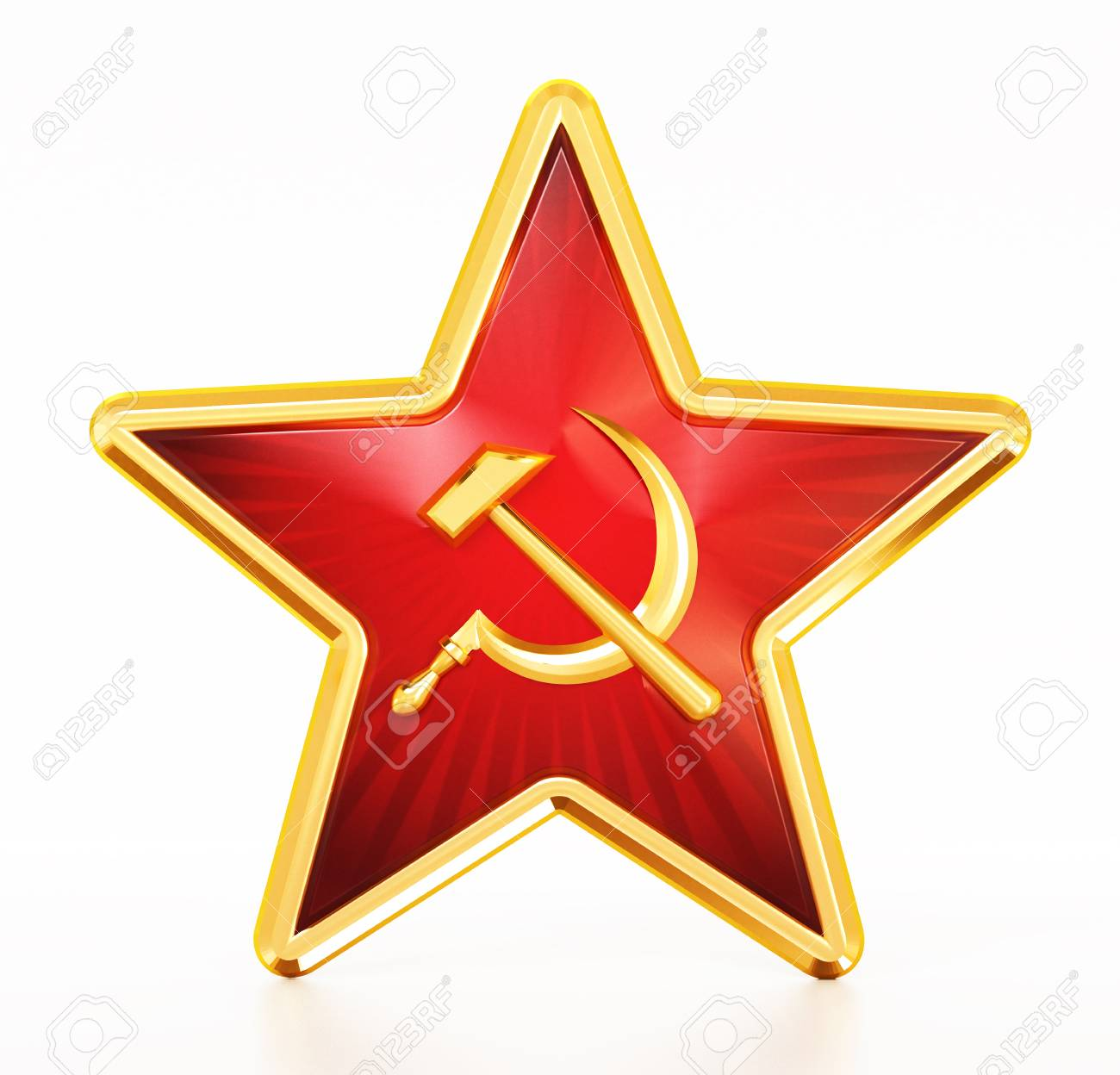 Communist Symbols Hammer And Sickle On Red Star. 3D Illustration. Stock Photo, Picture And Royalty Free Image. Image 103510125.