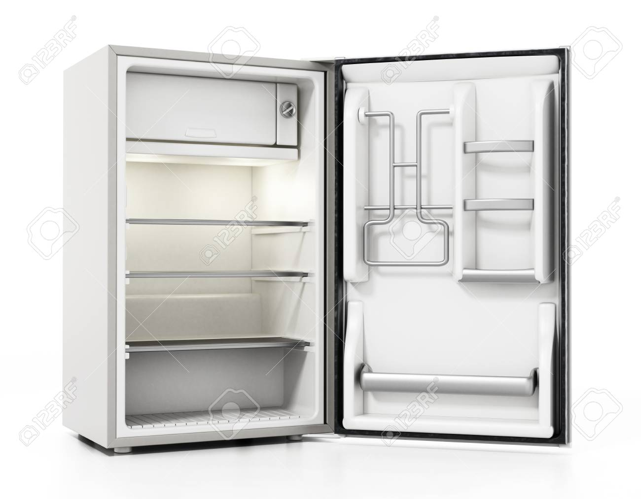 Small size hotel refrigerator isolated on white background. 3D illustration. - 123402771