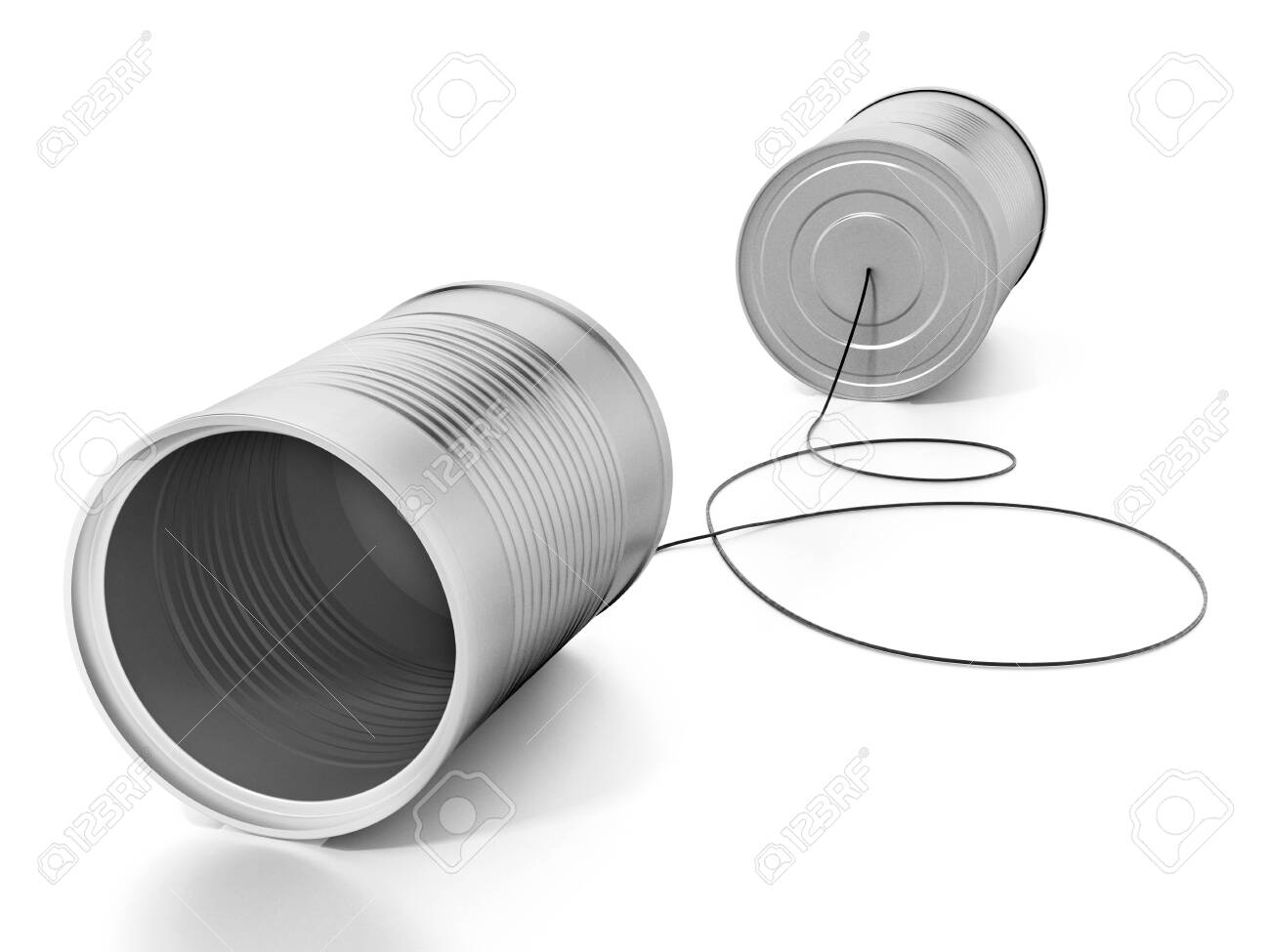 Tin cans connected to each other with a rope. 3D illustration. - 123447561