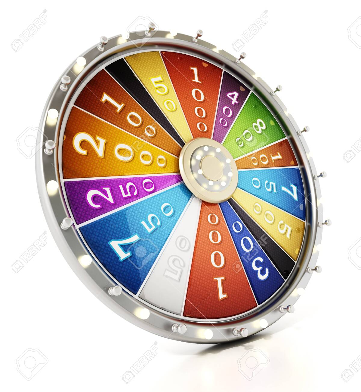 Prize wheel isolated on white background. 3D illustration. - 144846447