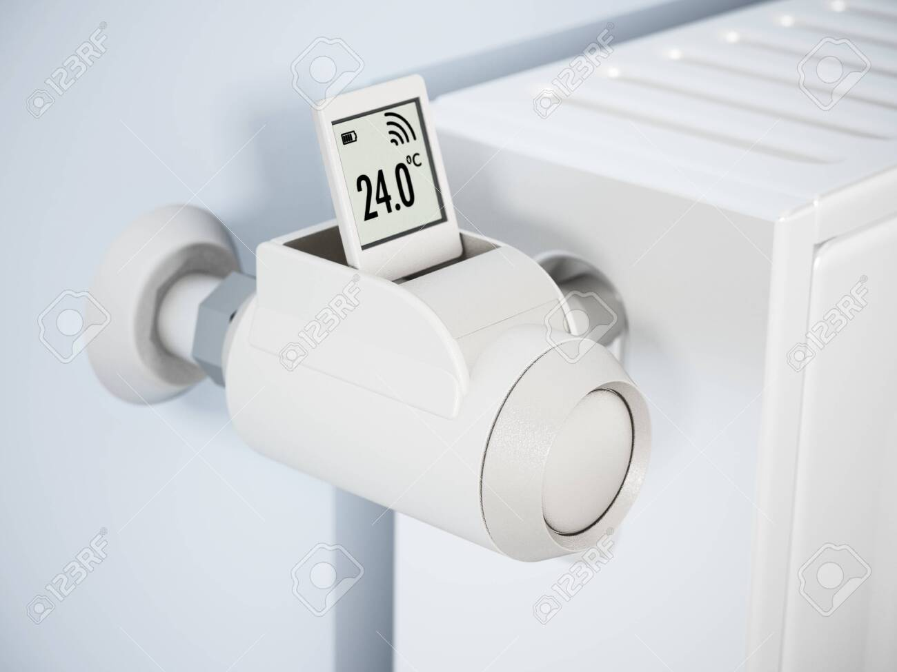 Smart Thermostatic Radiator Valve With Lcd Screen 3d Illustration Stock Photo Picture And Royalty Free Image Image 146670560