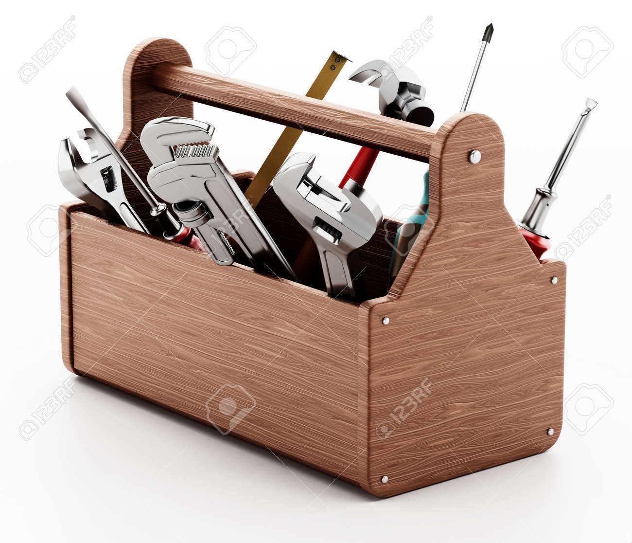 Wooden toolbox with various hand tools isolated on white background. 3D illustration. - 171774650