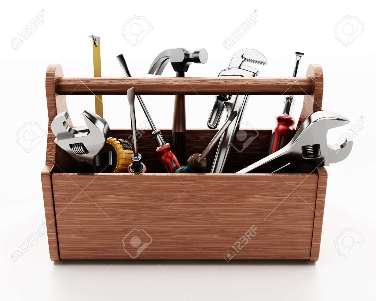 Wooden toolbox with various hand tools isolated on white background. 3D illustration. - 171774651