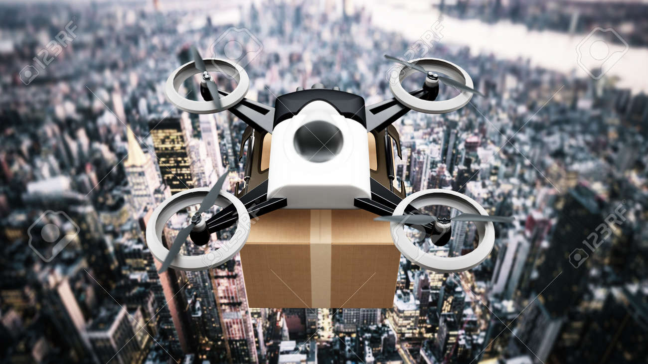 Unmanned drone carrying cargo box above the big city view. - 171835341