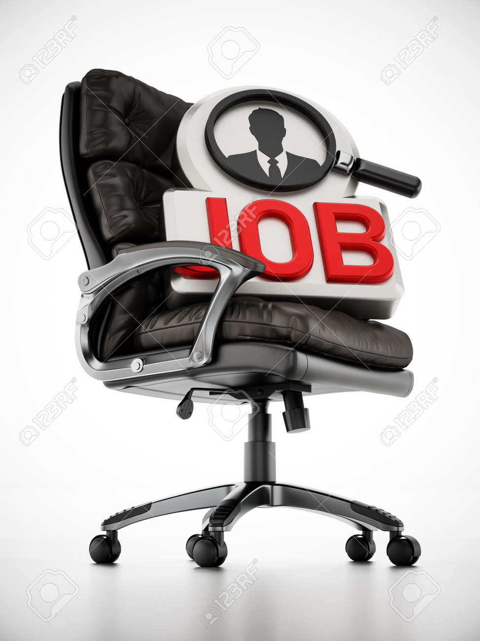 Black leather office chair with job text and businessman symbol. 3D illustration. - 171795851