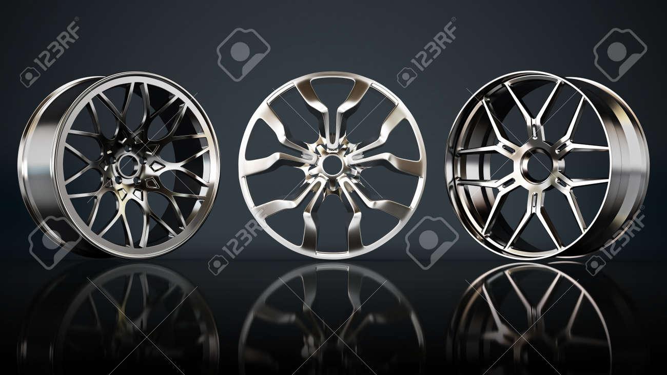 Steel rims on black background. 3D illustration. - 171906783