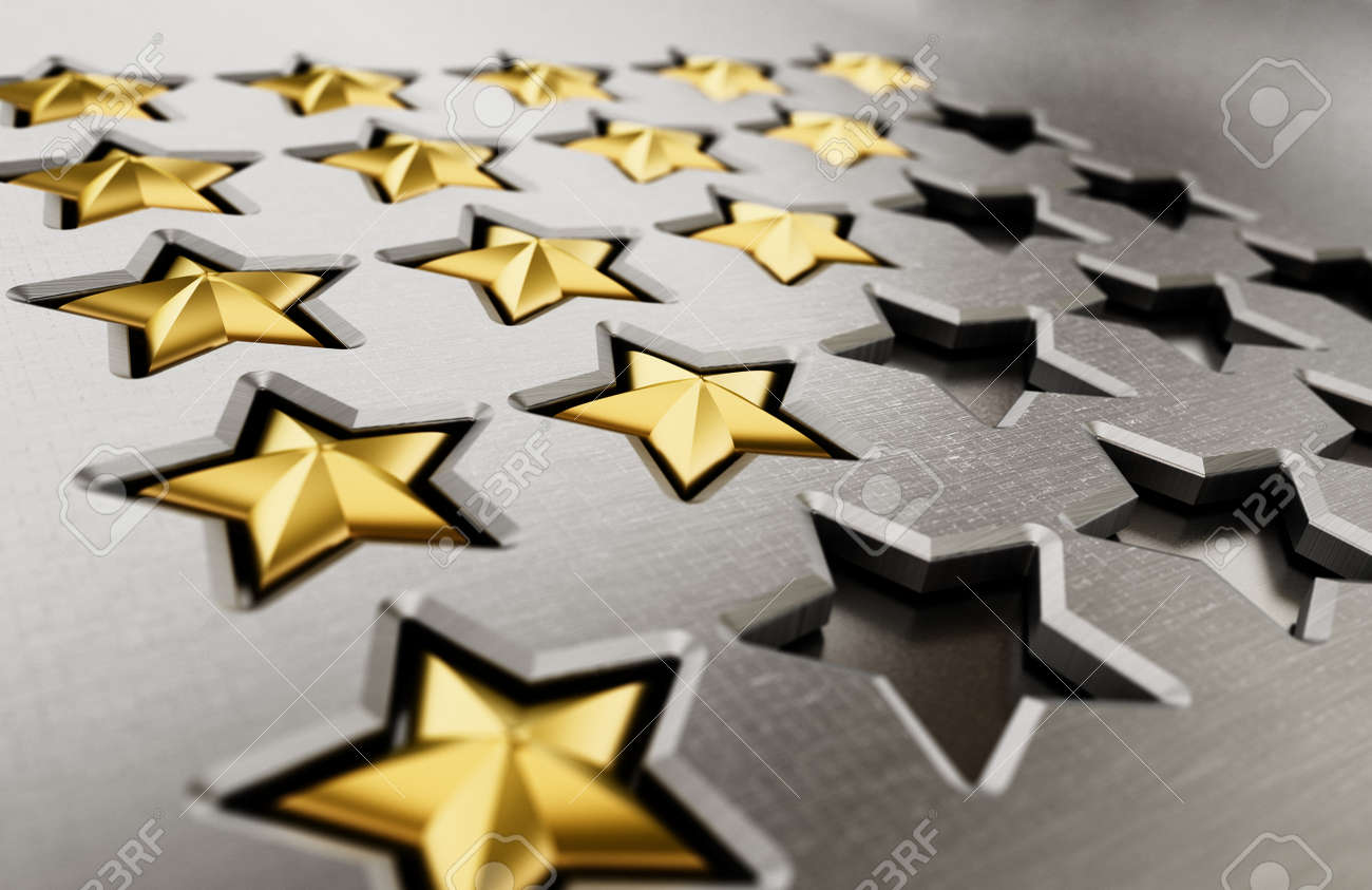 Rating stars table with 5.4,3,2.1 stars. 3D illustration. - 171907807