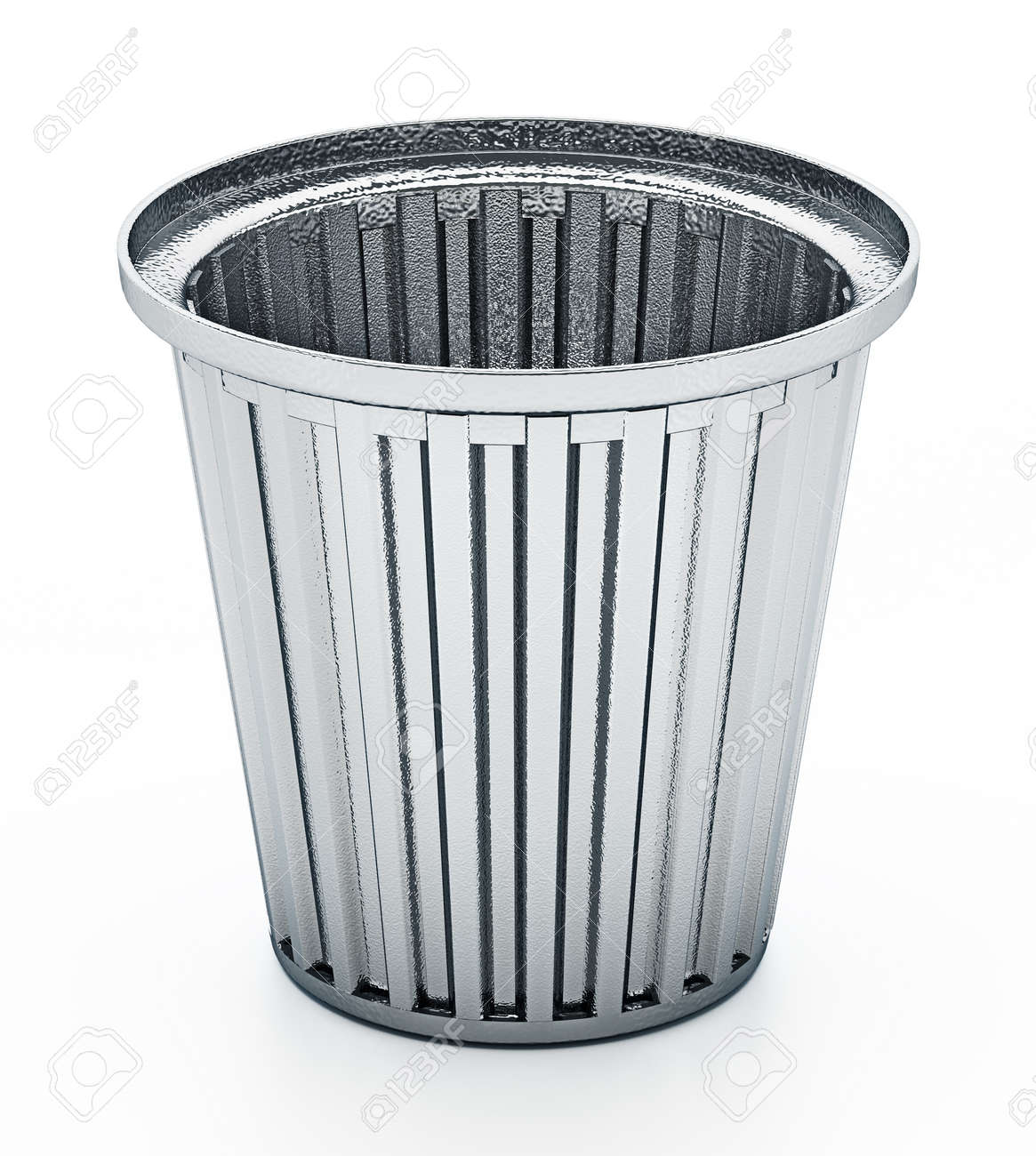 Steel trash can isolated on white background. 3D illustration. - 171907045