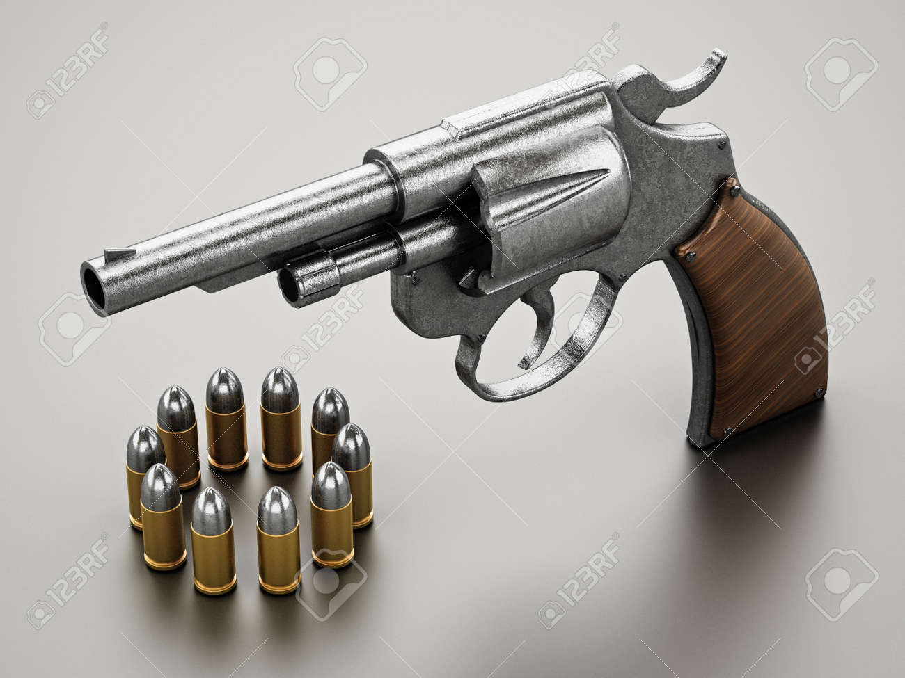 Generic revolver and bullets with soft reflection. 3D illustration. - 172238258