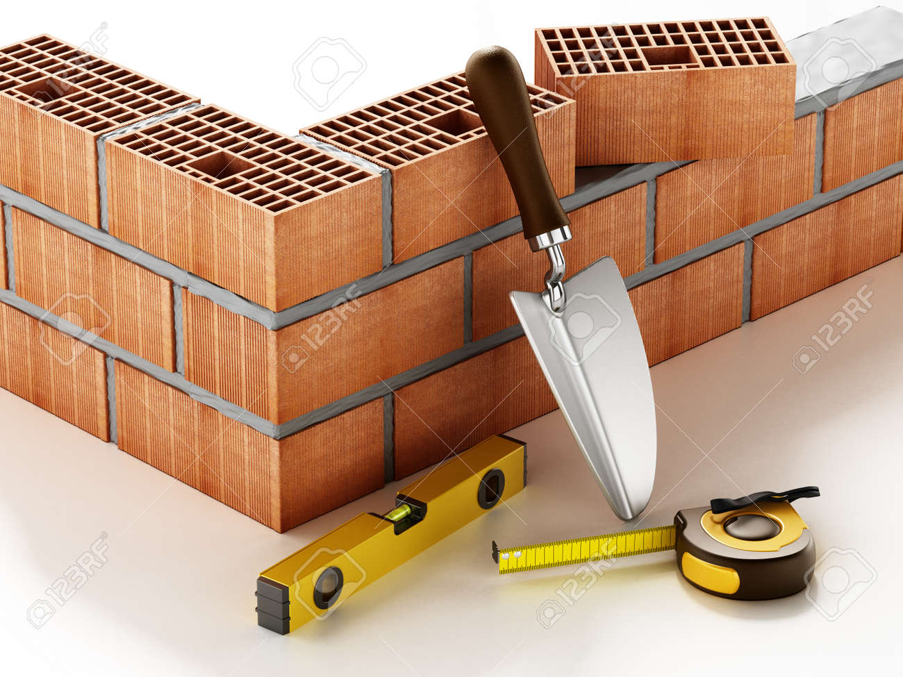 Laid bricks and construction tools isolated on white background. 3D illustration. - 172440208