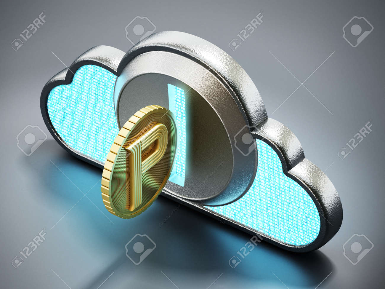 Cryptocurrency coin with cloud shaped coin counter. 3D illustration. - 172447459