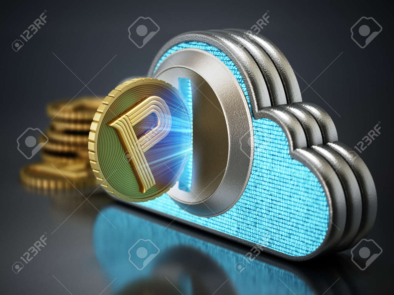 Cryptocurrency coin with cloud shaped coin counter. 3D illustration. - 172447460