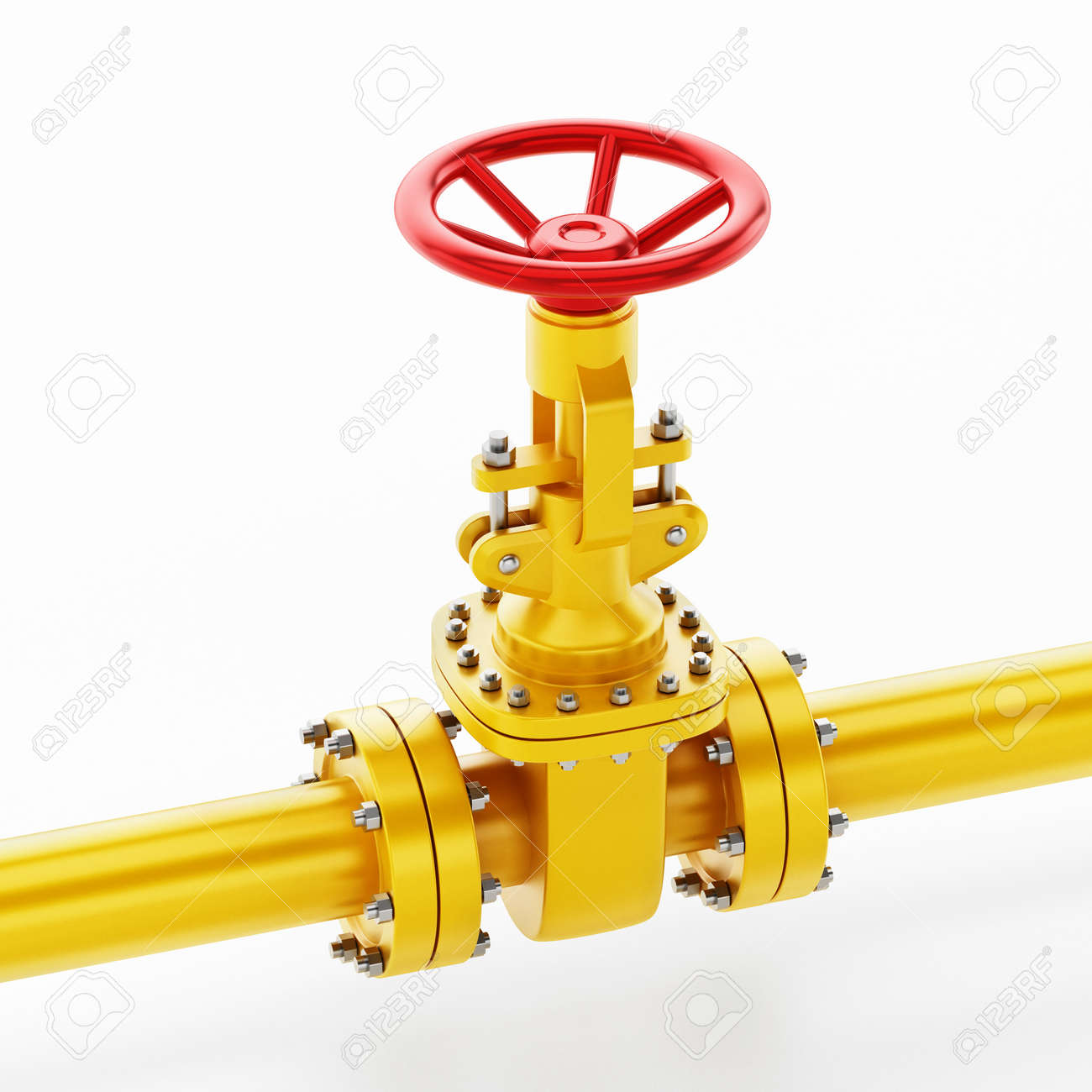 Yellow oil pipe with valve isolated on white background. 3D illustration. - 172447466