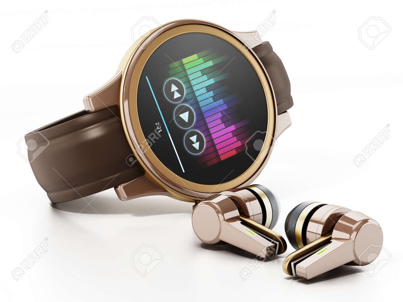 Generic smartwatch and wireless earphones. 3D illustration. - 173109645