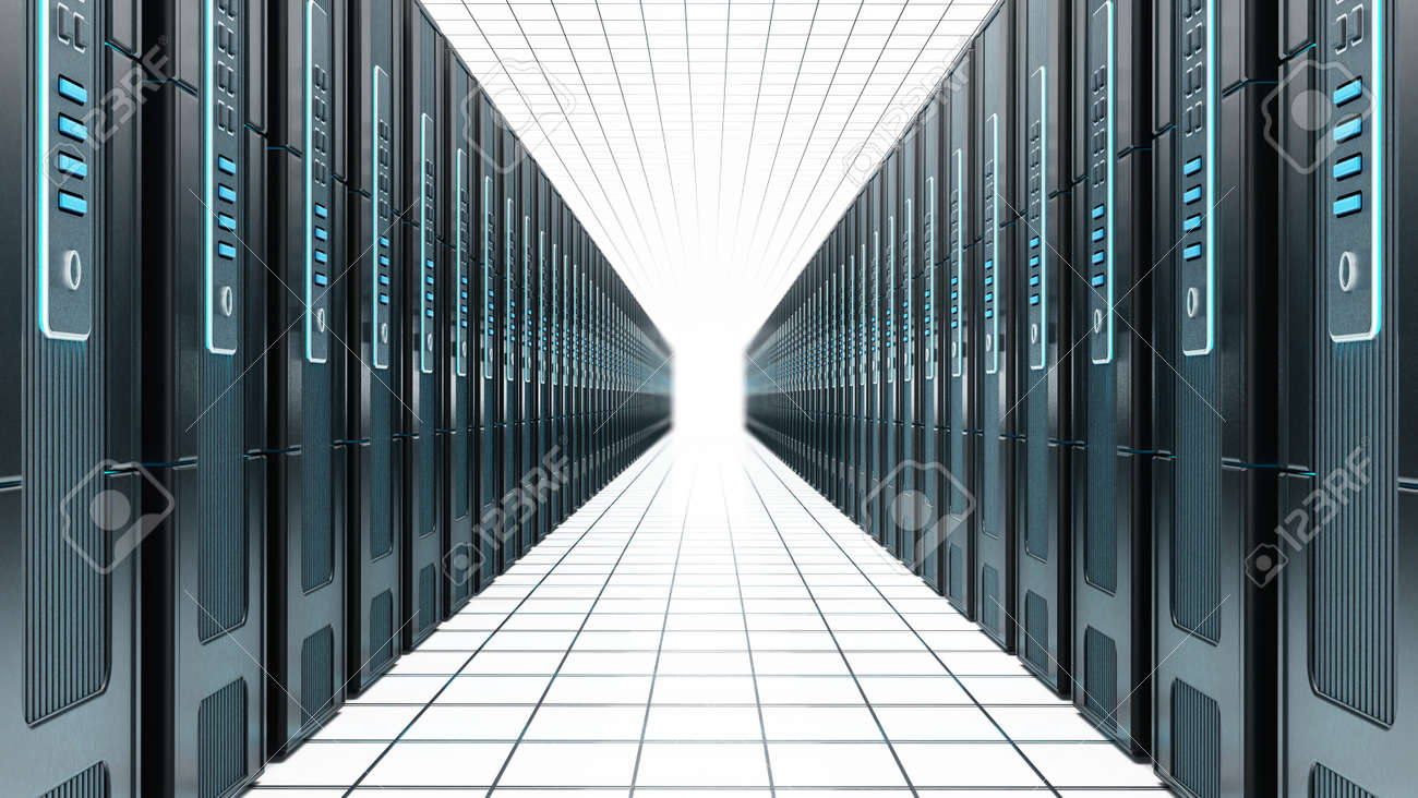 Network servers in a row isolated on white background. 3D illustration. - 173109650