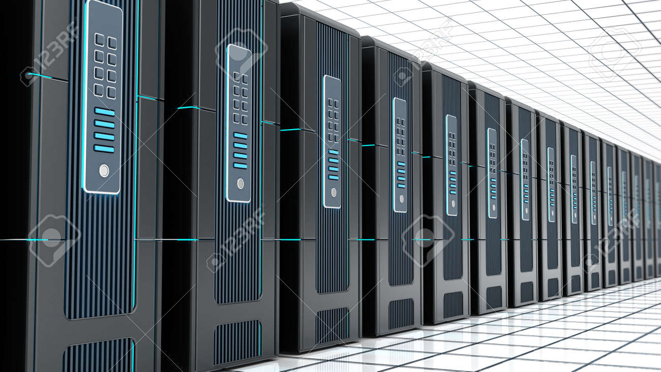 Network servers in a row isolated on white background. 3D illustration. - 173109651
