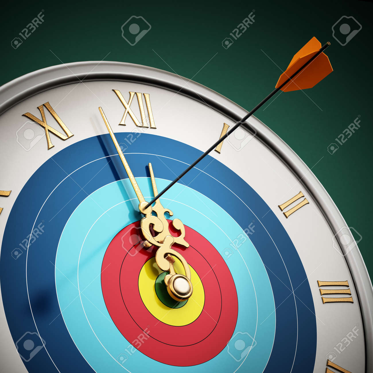 Arrow hit at clock hand stopping the time. 3D illustration. - 173109654