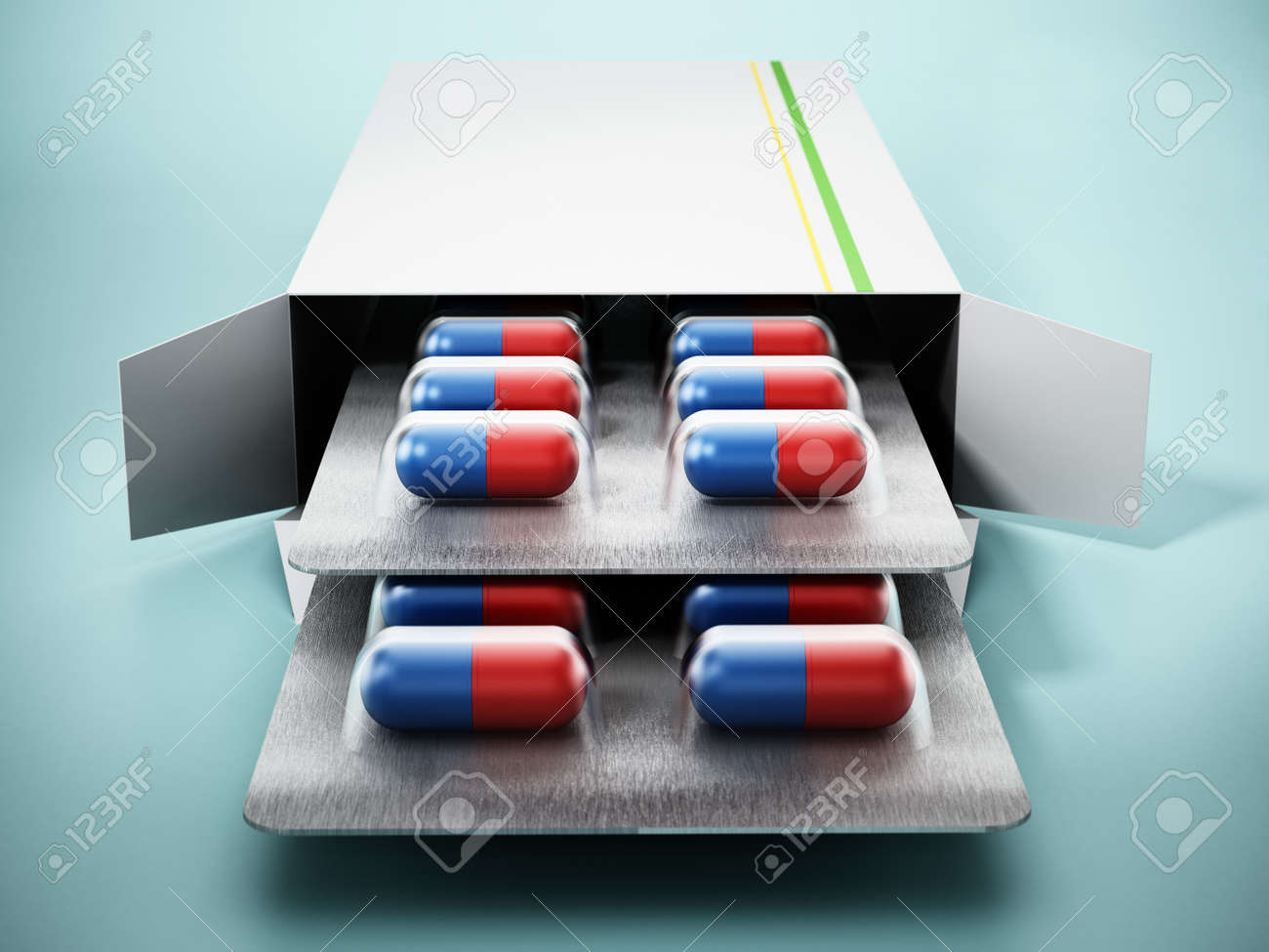 Open pill box with capsules isolated on green background. 3D illustration. - 173109656