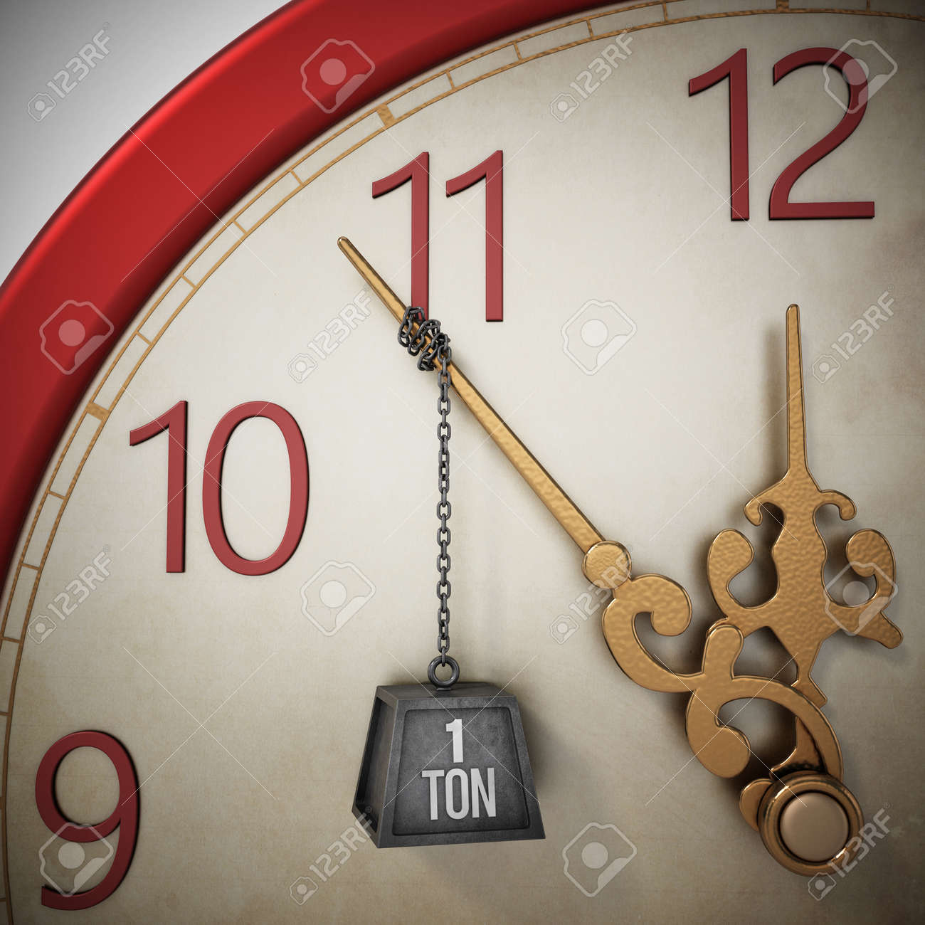 One ton weight chained at the clock hand stopping the time. 3D illustration. - 173109659