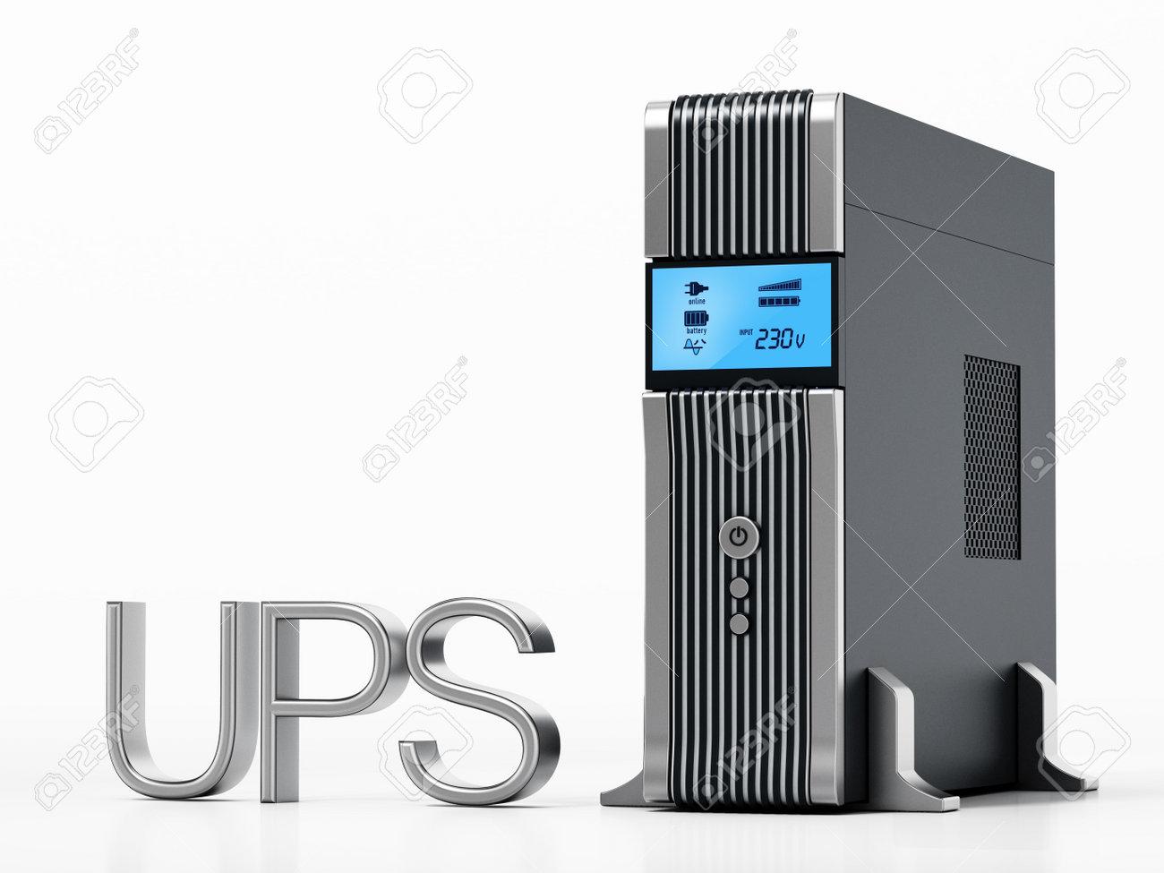 Uninterruptible power supply UPS isolated on white background. 3D illustration. - 173109663