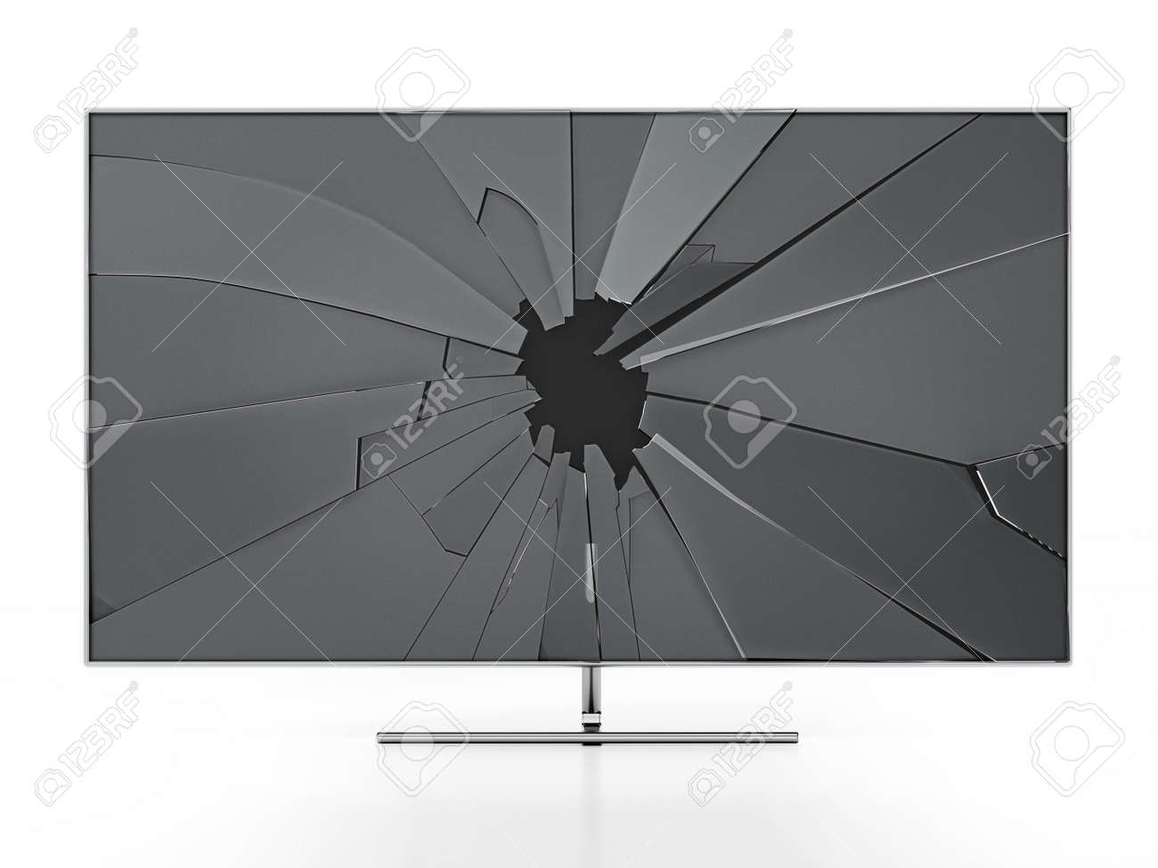 LCD TV with shattered screen isolated on white background. 3D illustration. - 173110860