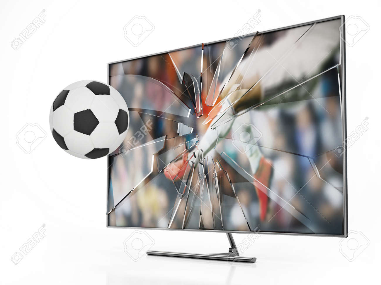 Soccer ball floating out of LCD TV with shattered screen. 3D illustration. - 173111188
