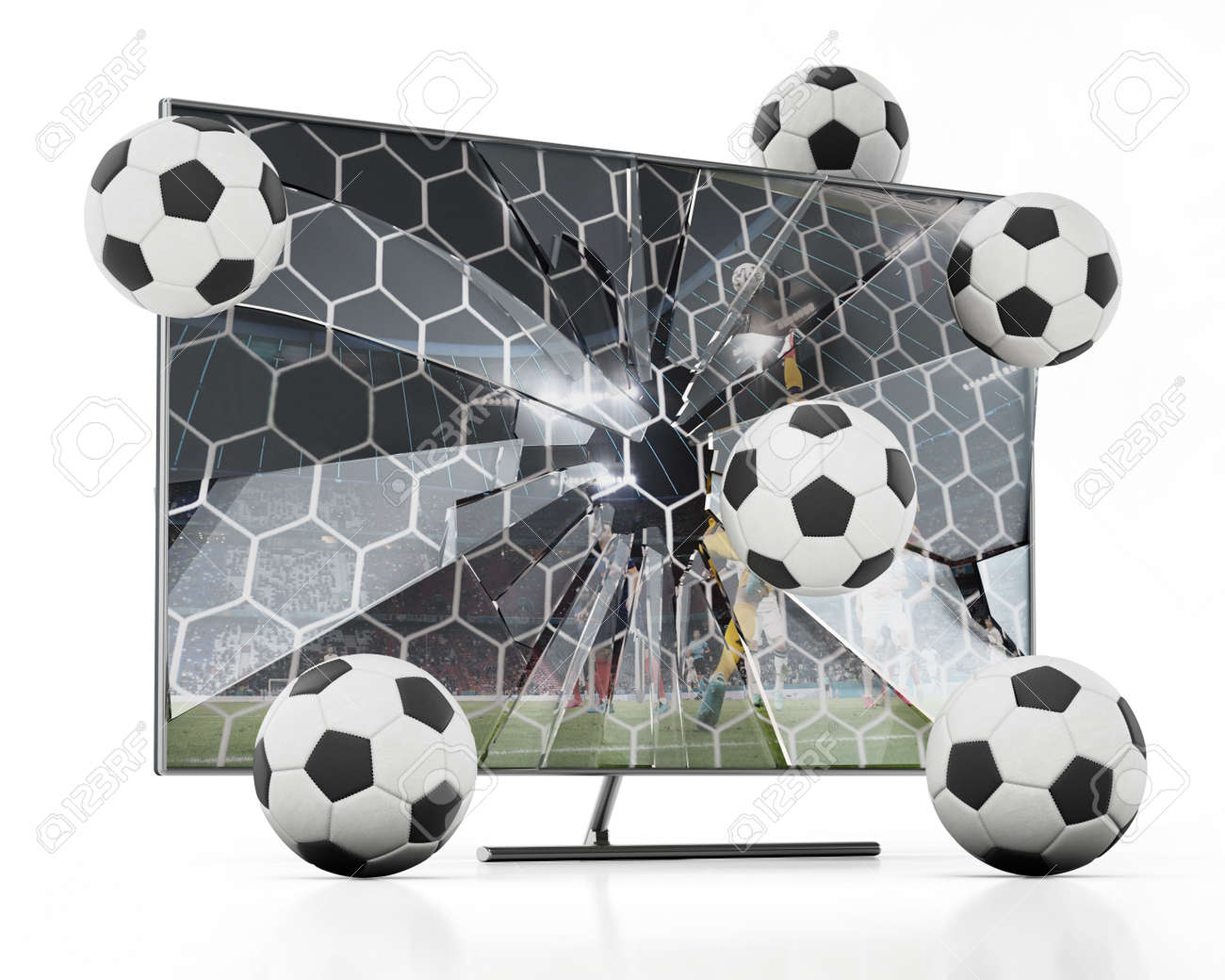 Soccer balls floating out of LCD TV with shattered screen. 3D illustration. - 173442125