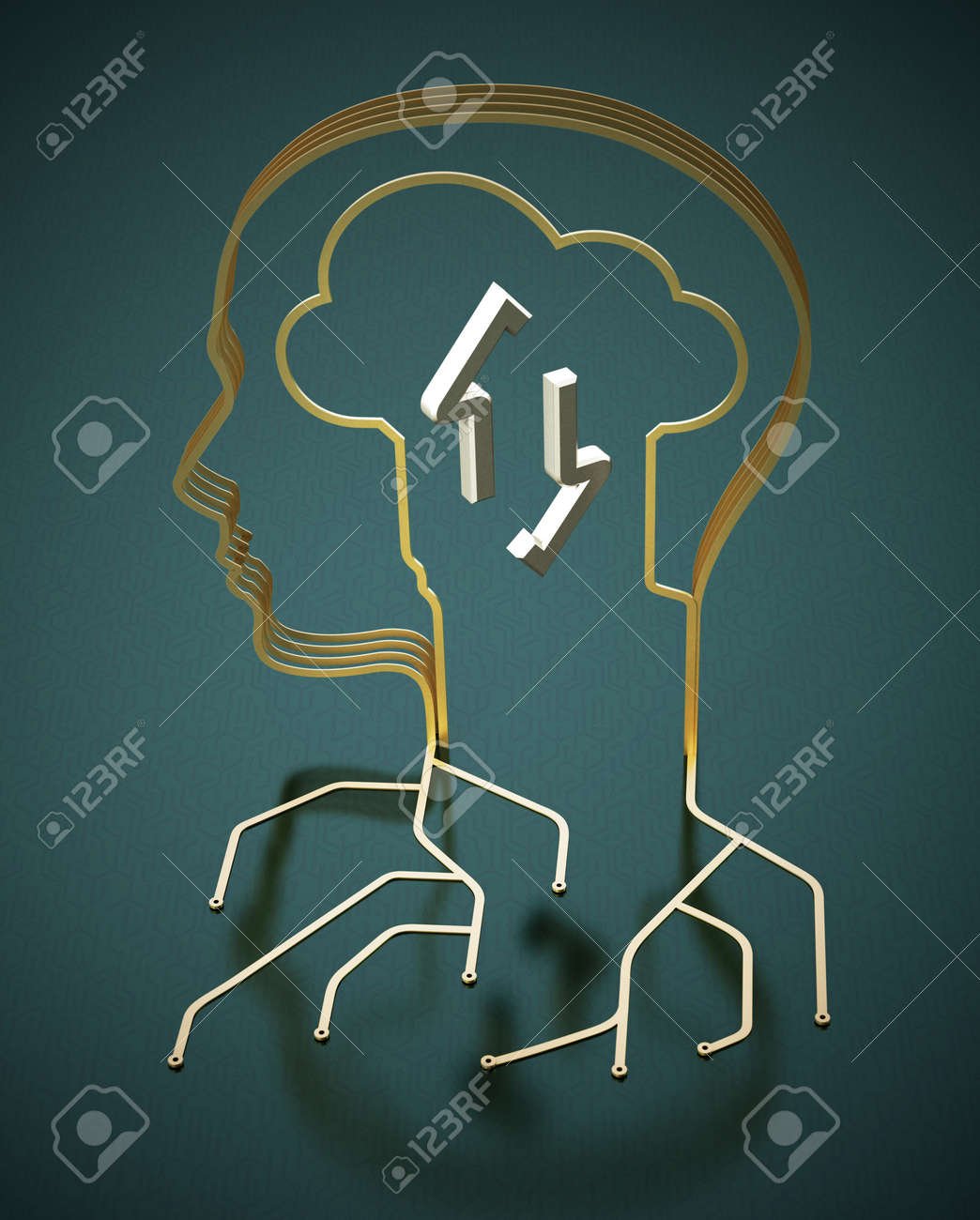 PCB circuit wires forming a head shape. Human and machine interaction concept. 3D illustration. - 173154717