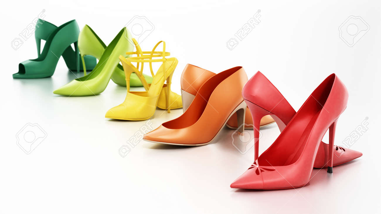 Set of various women's shoes isolated on white background. 3D illustration. - 173442127