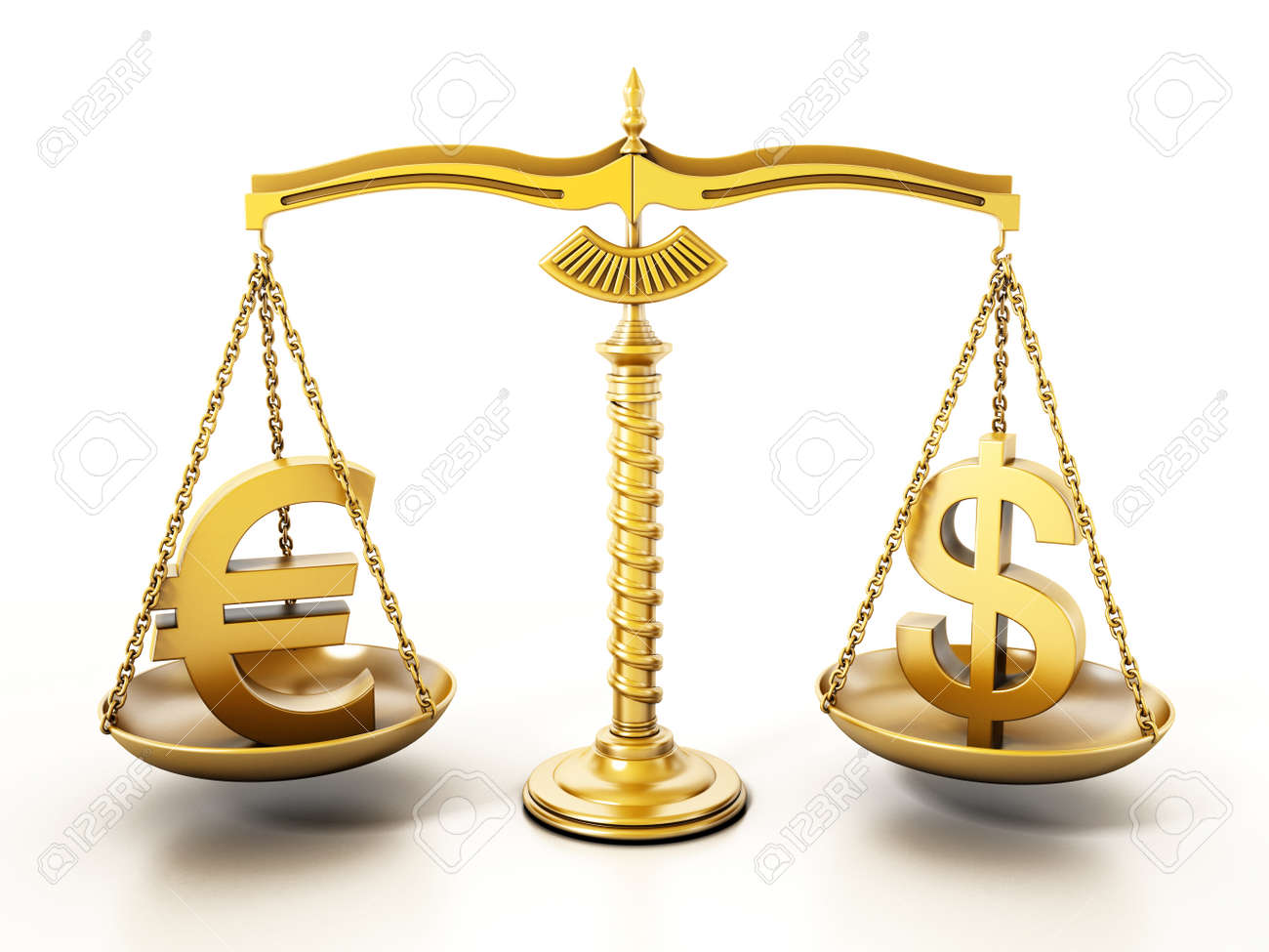 Golden Euro and Dollar signs standing on the scales of a balanced scale. 3D illustration. - 173212239