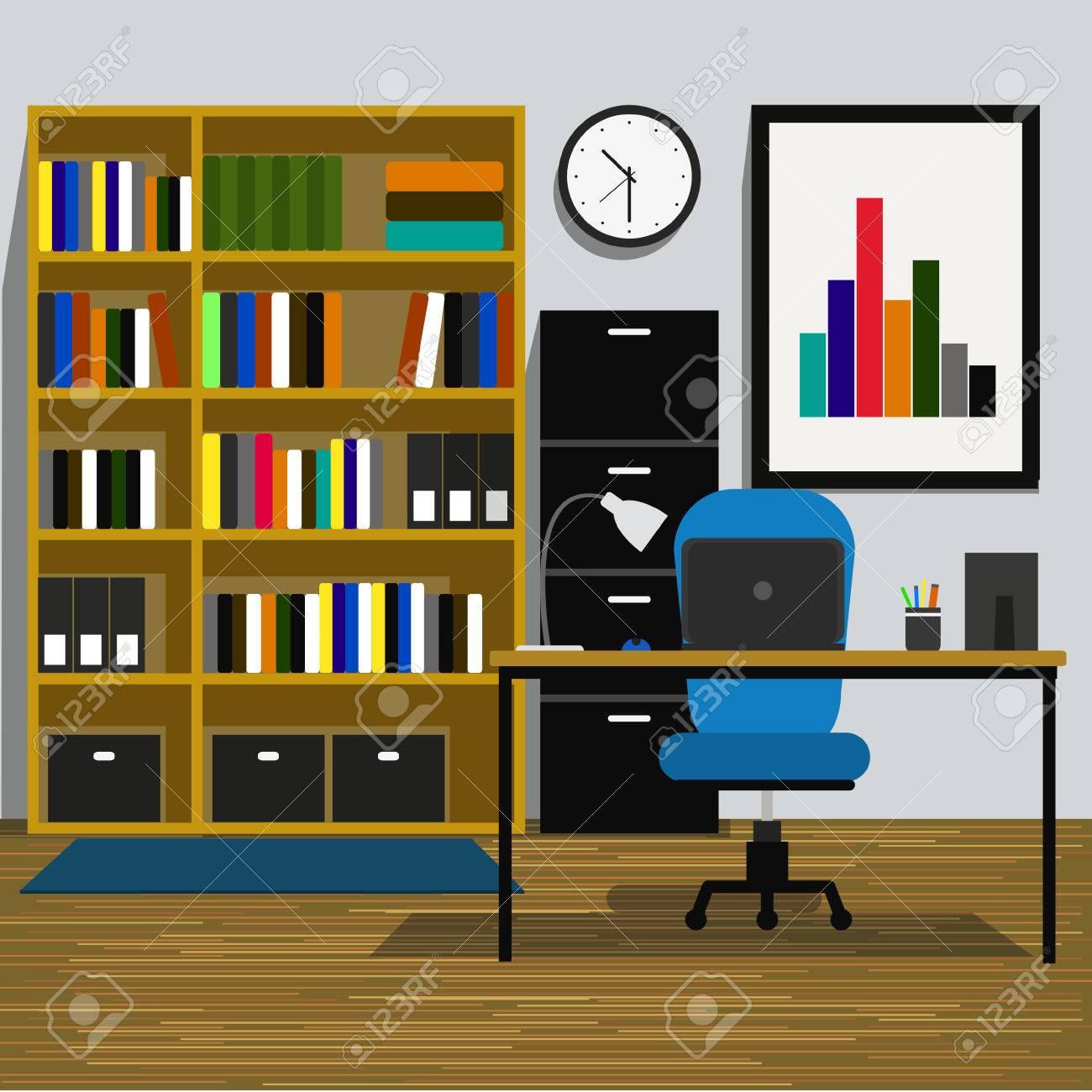 Espace De Travail Interior Office Chambre Avec Livres Etagere