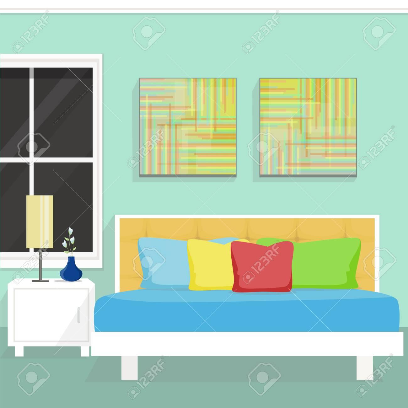 Intérieur De La Chambre à Coucher Avec Fenêtre Tableau Et Peinture Murale Illustration Vectorielle Style Plat