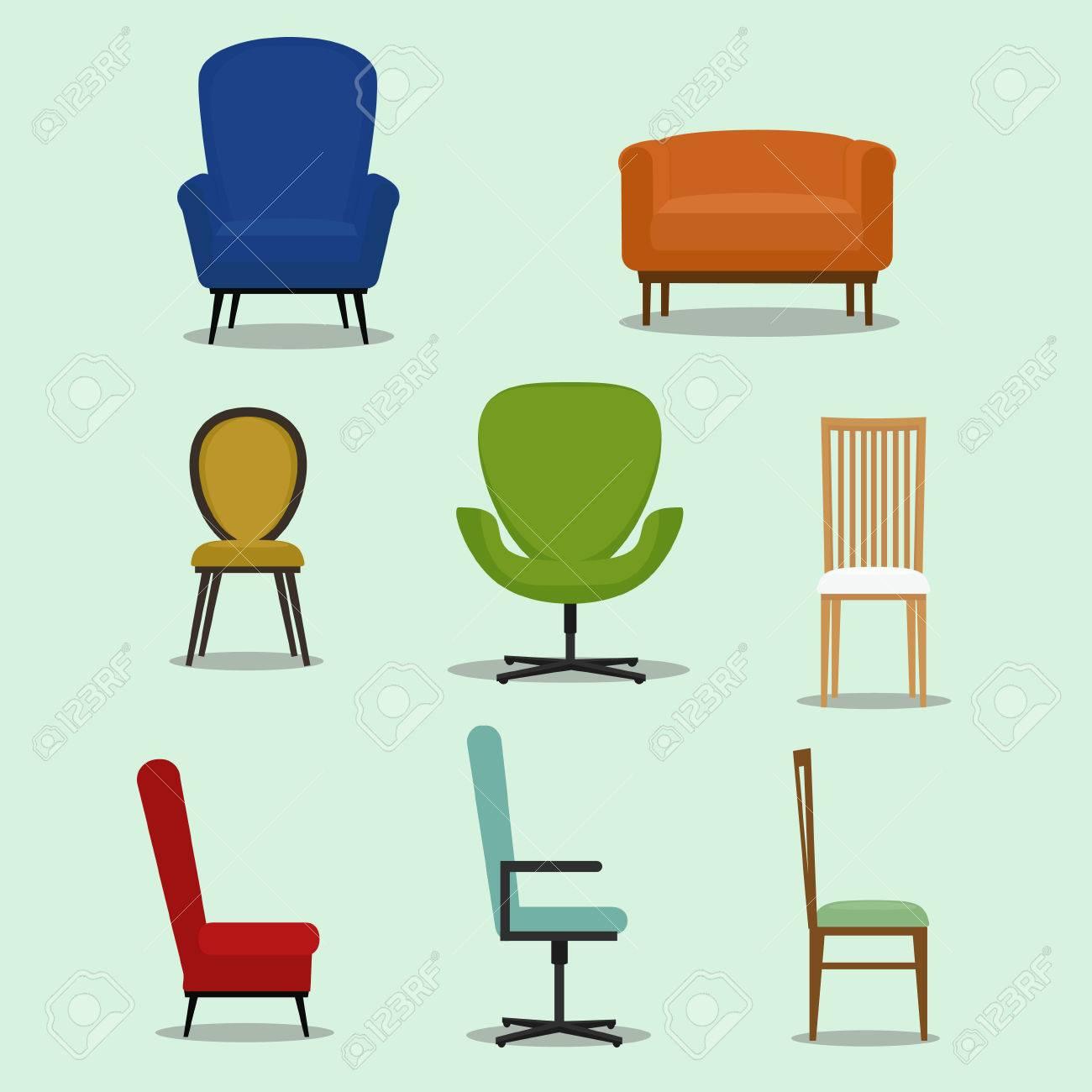 Vorm En Stijl.Set Van Geisoleerde Stoel En Sofa Met Verschillende Vorm En Design Vlakke Stijl Vector Illustratie