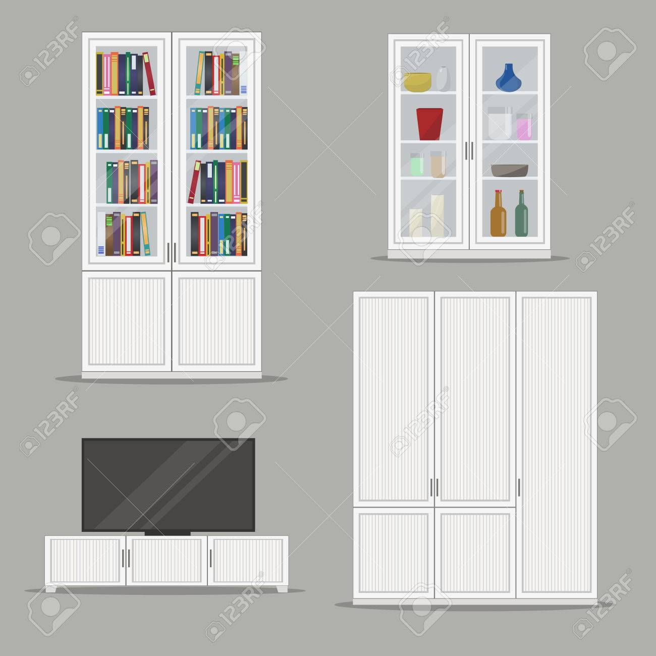 Set Of Isolated Bookcase Tv Cabinet And Wardrobe Furniture Flat
