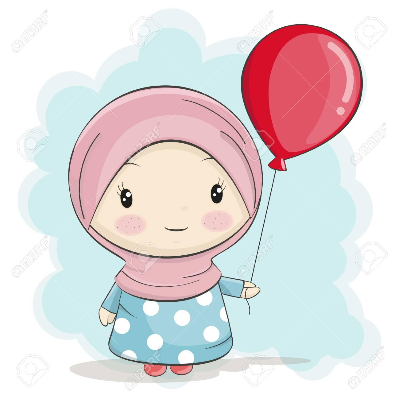 A cute muslim girl cartoon with red balloon vector illustration stock vector 70277239