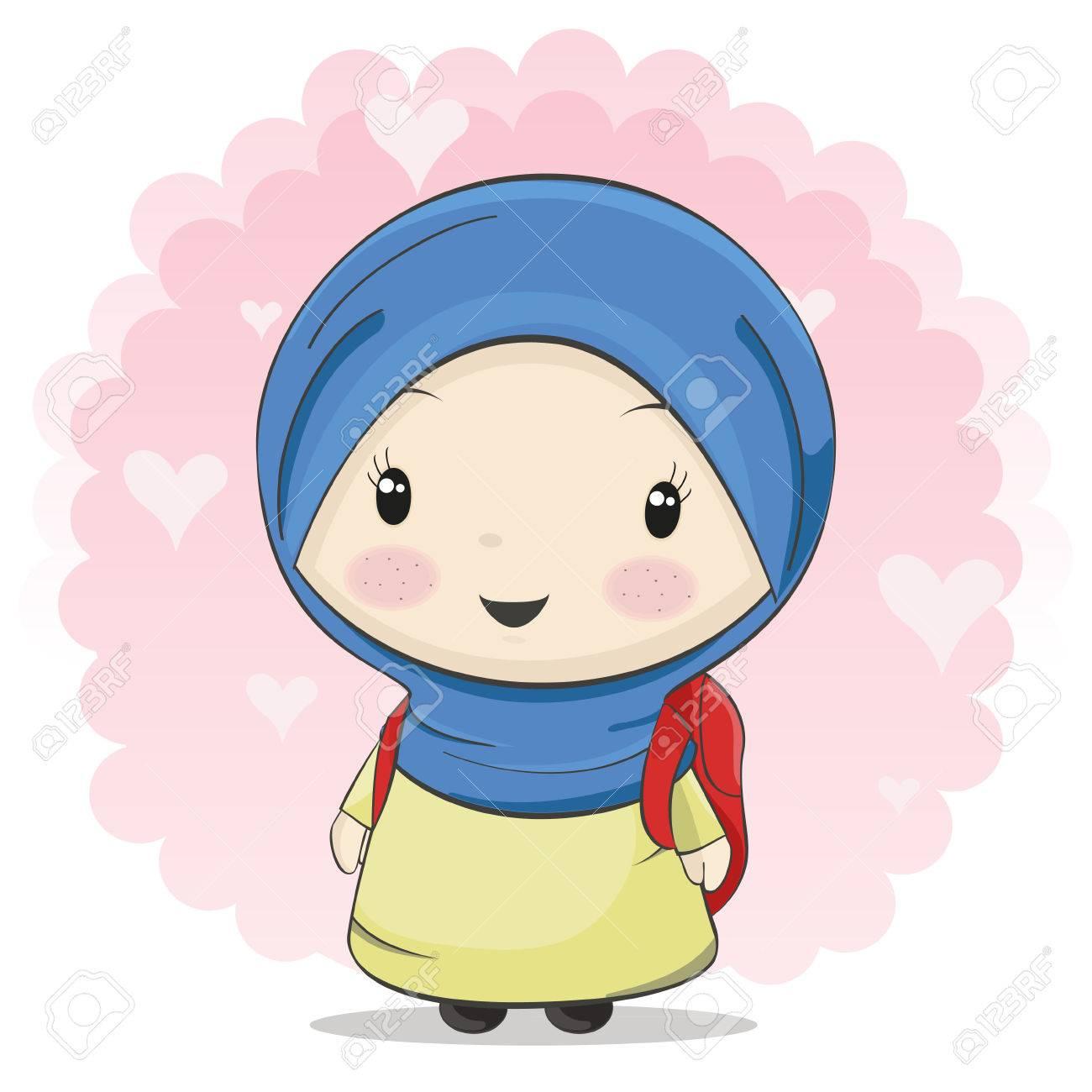 A cute muslim girl cartoon carrying bag for school vector illustration stock vector 70133293
