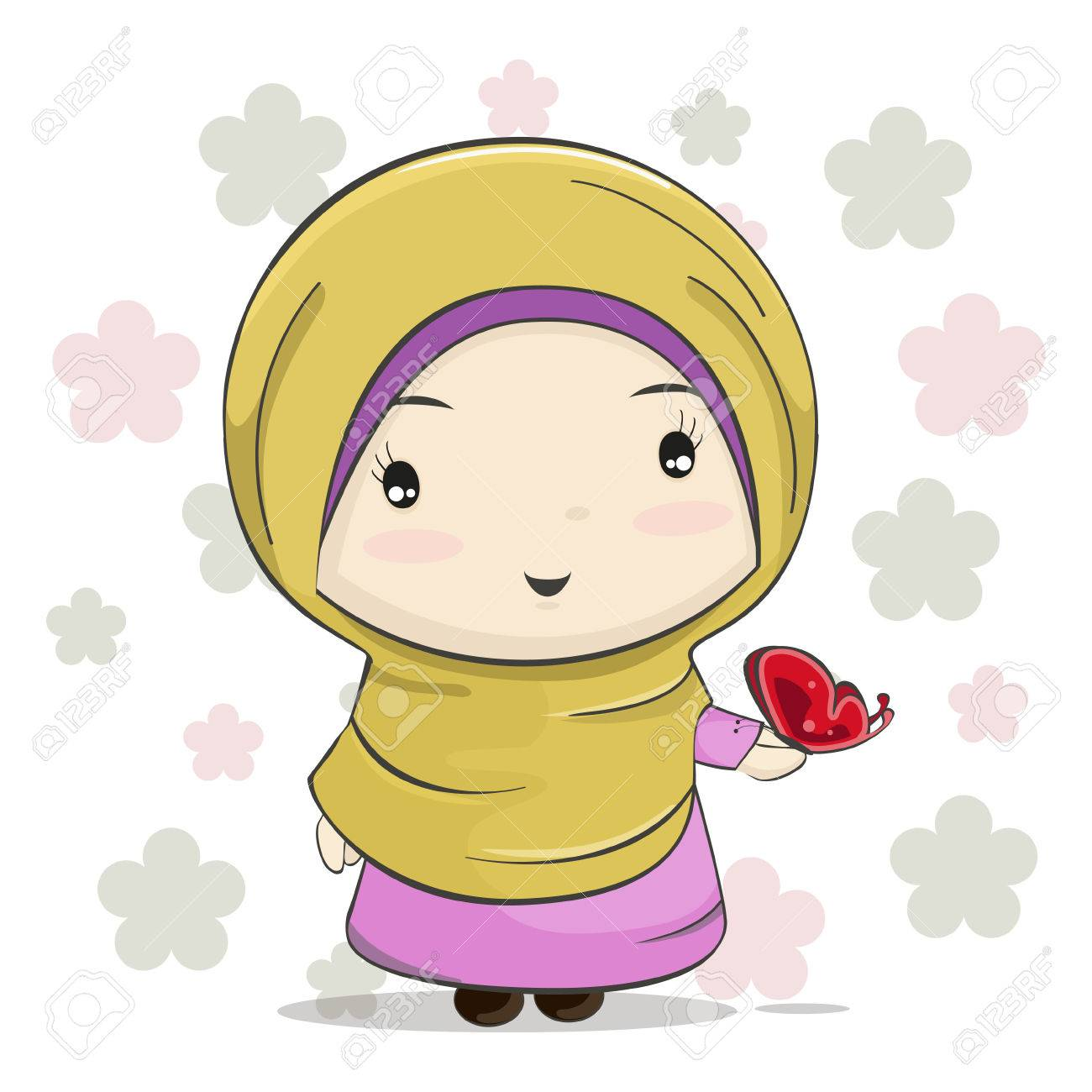 A cute muslim girl cartoon with red butterfly on her hand vector illustration stock vector
