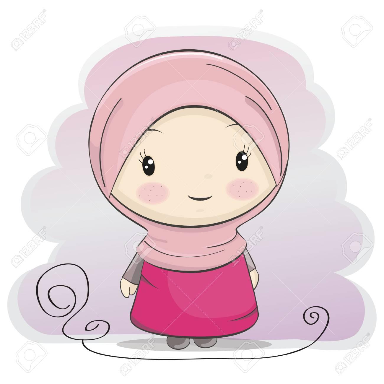 A cute muslim girl cartoon vector illustration stock vector 70277242