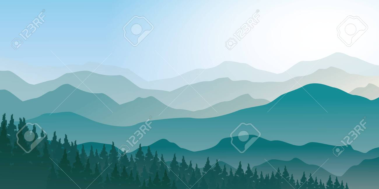 Tranquil mountain range scenery landscape with pines forest, foggy morning vector illustration. - 140778720