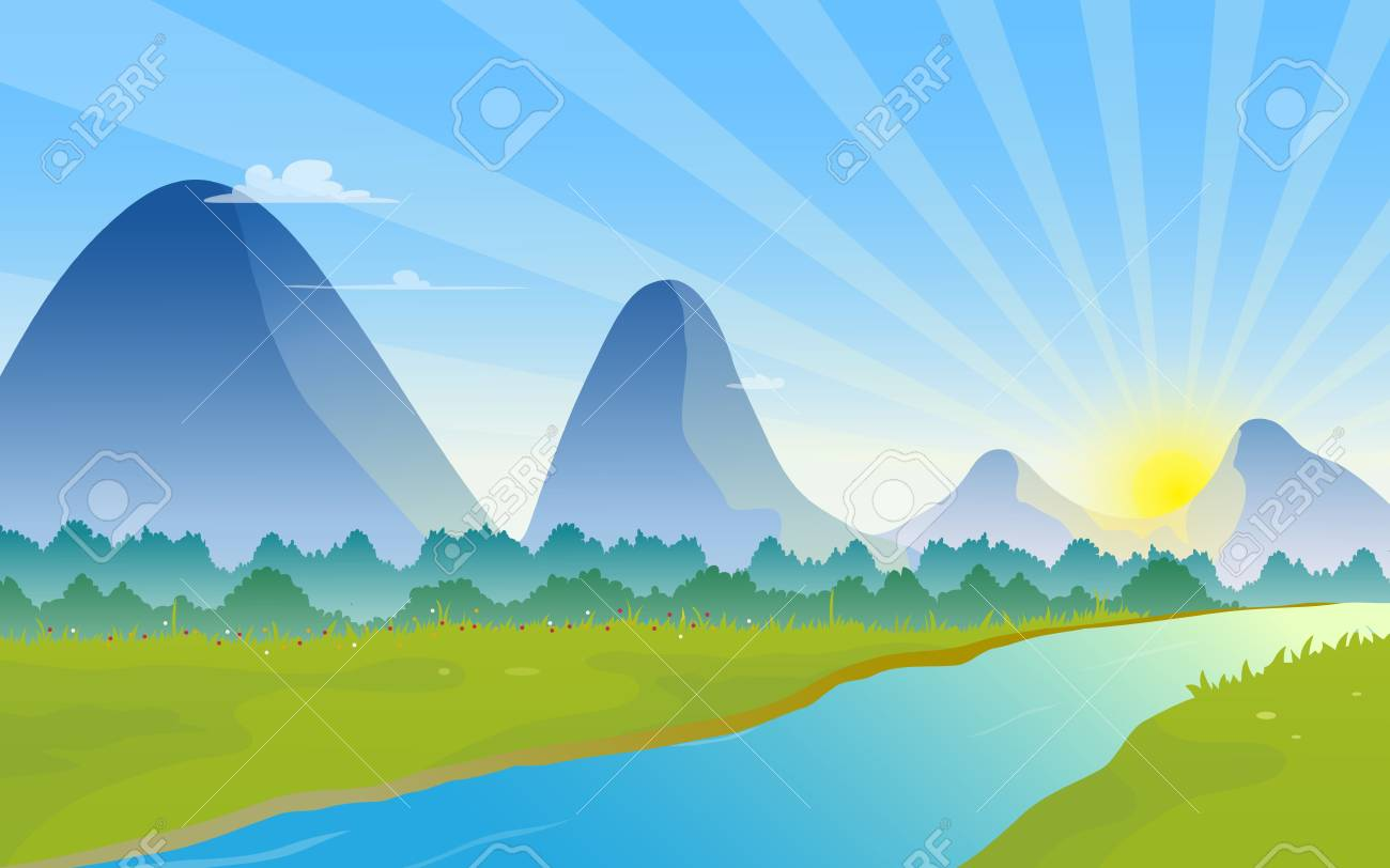 Mountains landscape with sunrise on the horizon. - 107503976