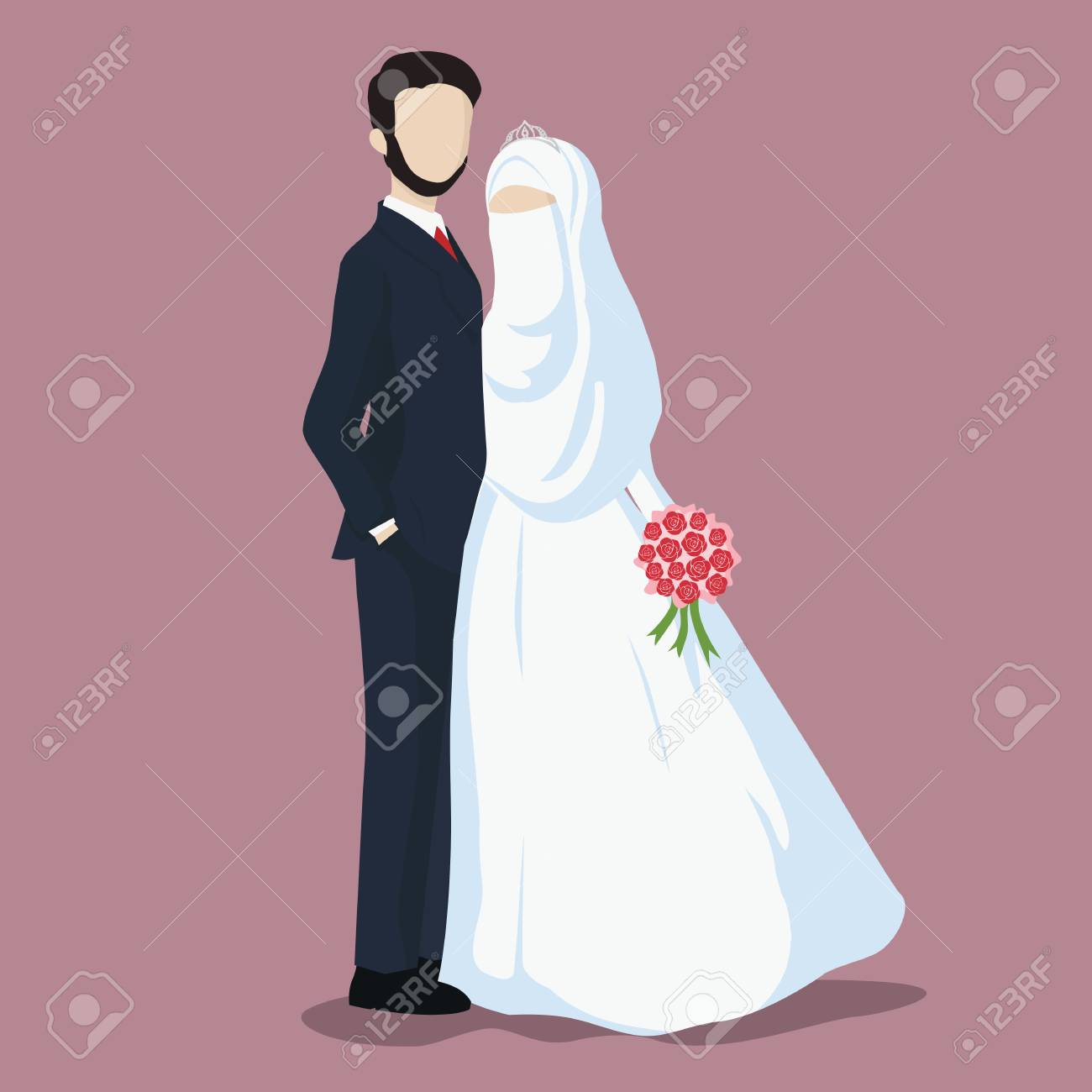 Illustration Of Bride And Groom Wedding Couple Cartoon Vector Royalty Free Cliparts Vectors And Stock Illustration Image 109689108