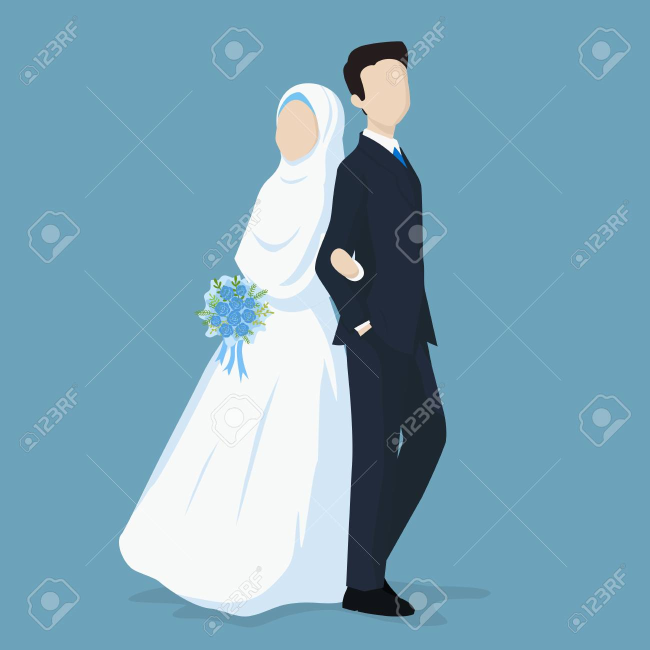 Muslim Bride And Groom Vector Cartoon Illustration