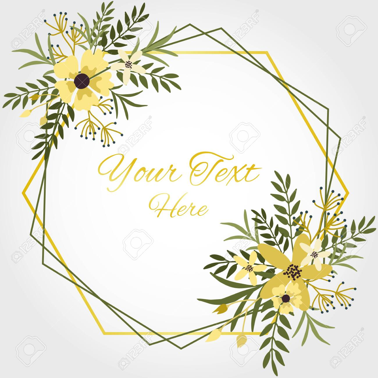 Floral Frame With Yellow Flowers Leaves And Branches In White