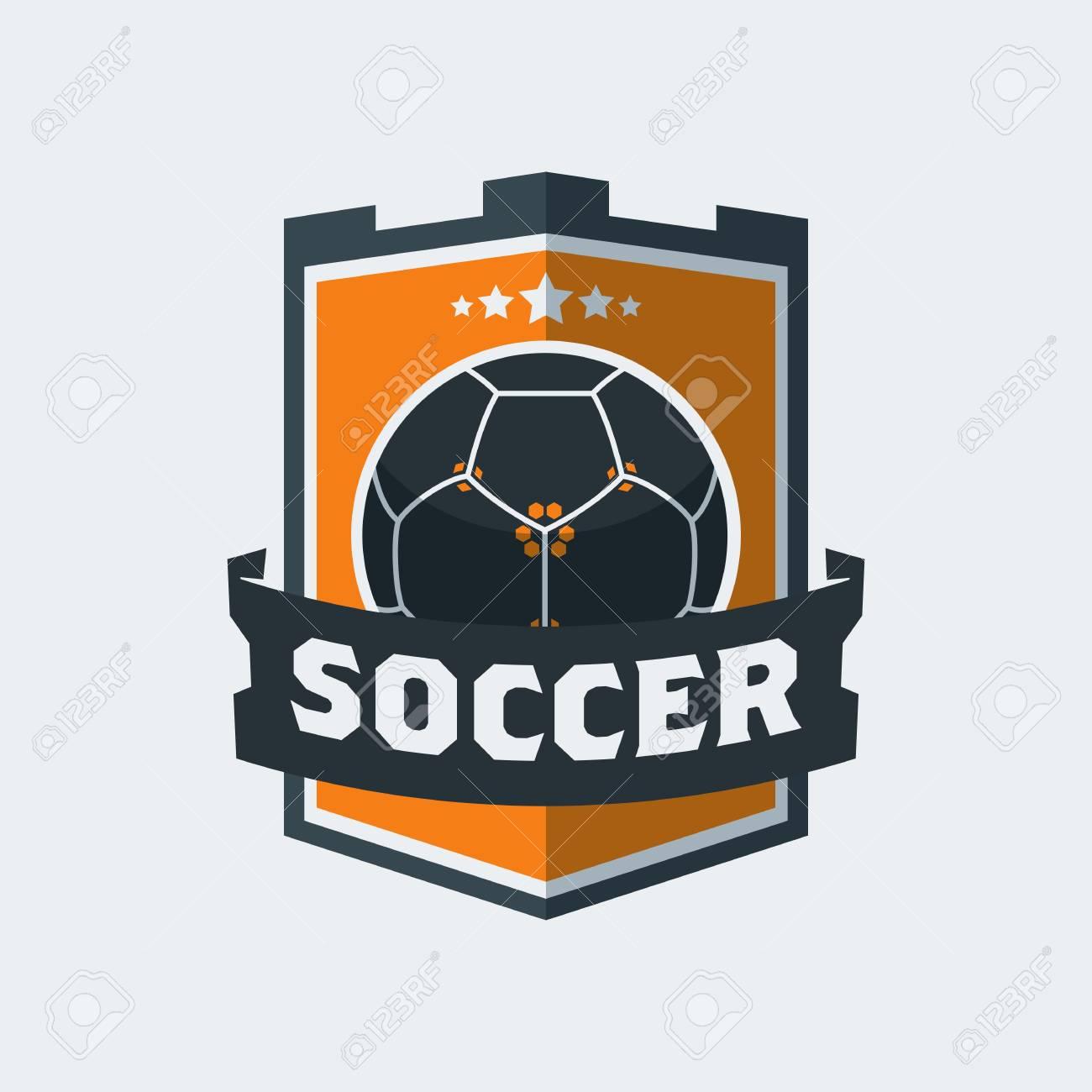 5653daacf9b Soccer Football icon template. Modern sport ball emblem inside shield  design on a light background
