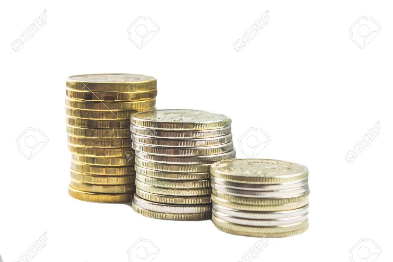 Stapel Von Russischen Münzen Auf Einem Grauen Hintergrund Mit