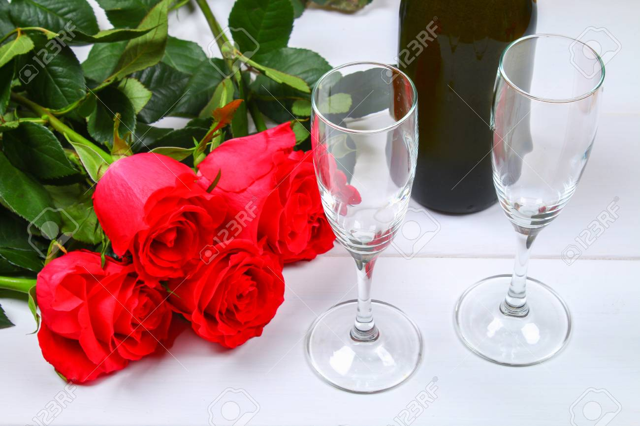 Valentines Day Greeting Card Red Rose Flowers Wine Glasses Stock