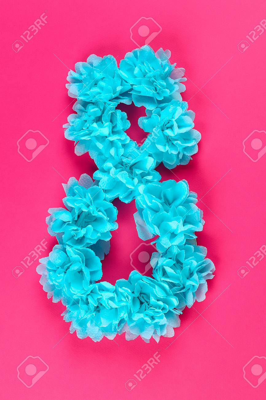 Diy Eight Made Cardboard Decorated Artificial Flower Made Blue