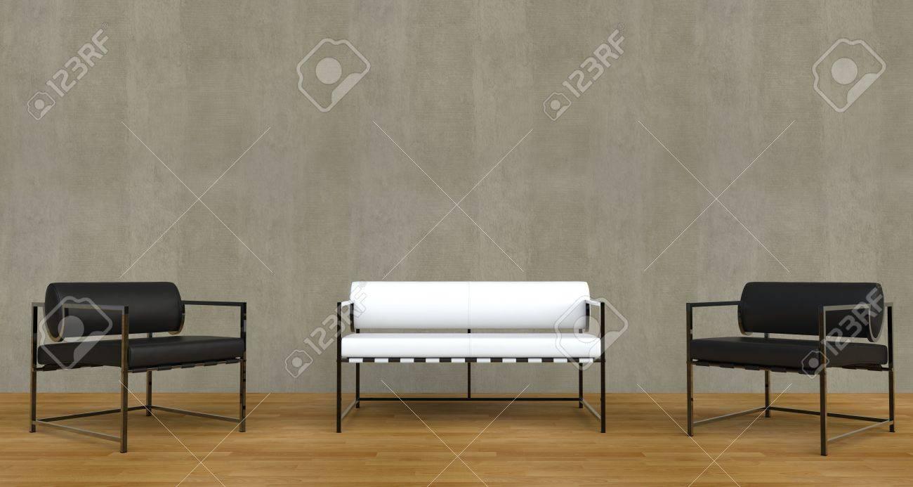 Modernes Wohnzimmer Schwarzweiß Standard Bild   44870046