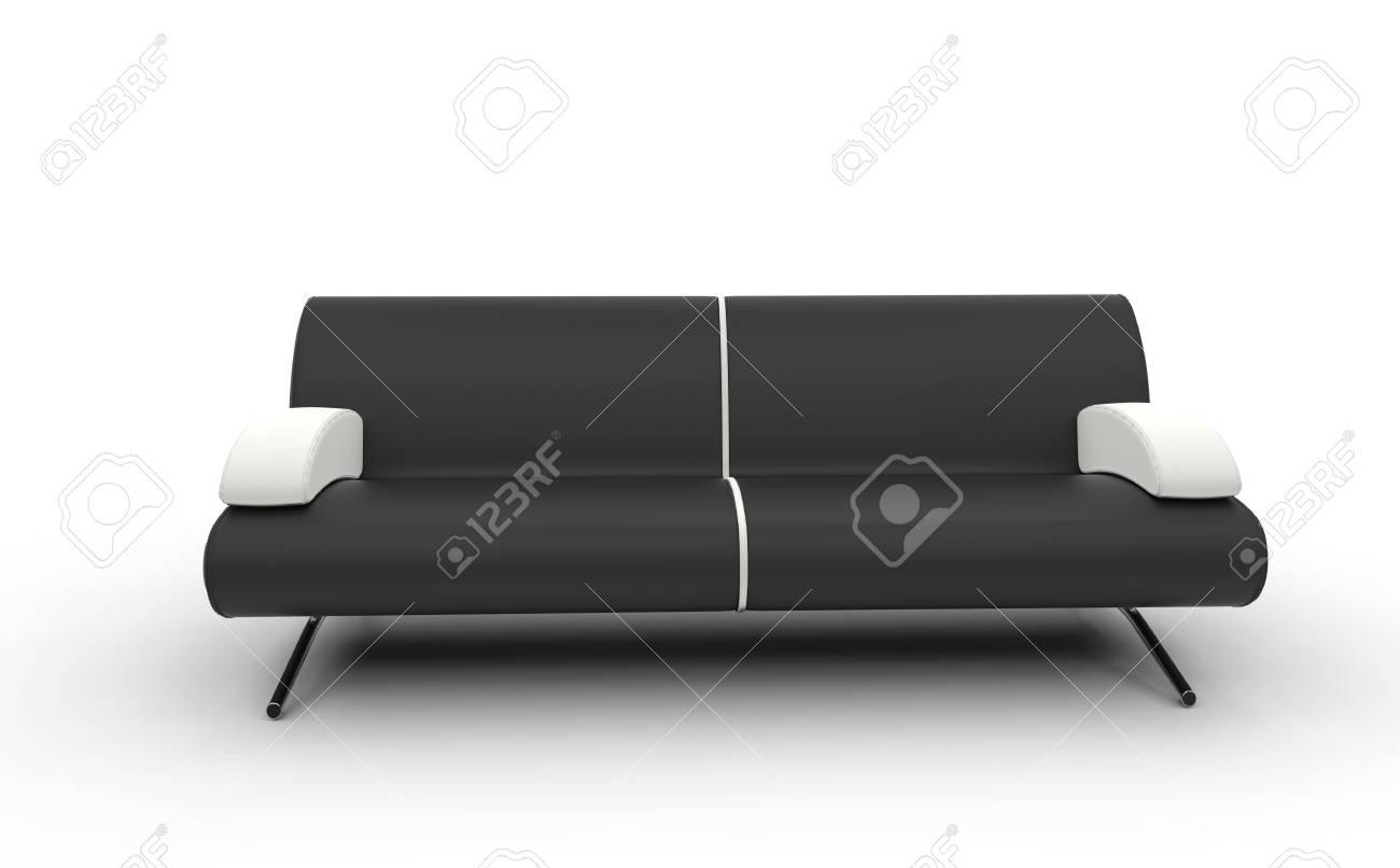 Divano Nero E Bianco : Divano nero con il bianco cuscini foto royalty free immagini