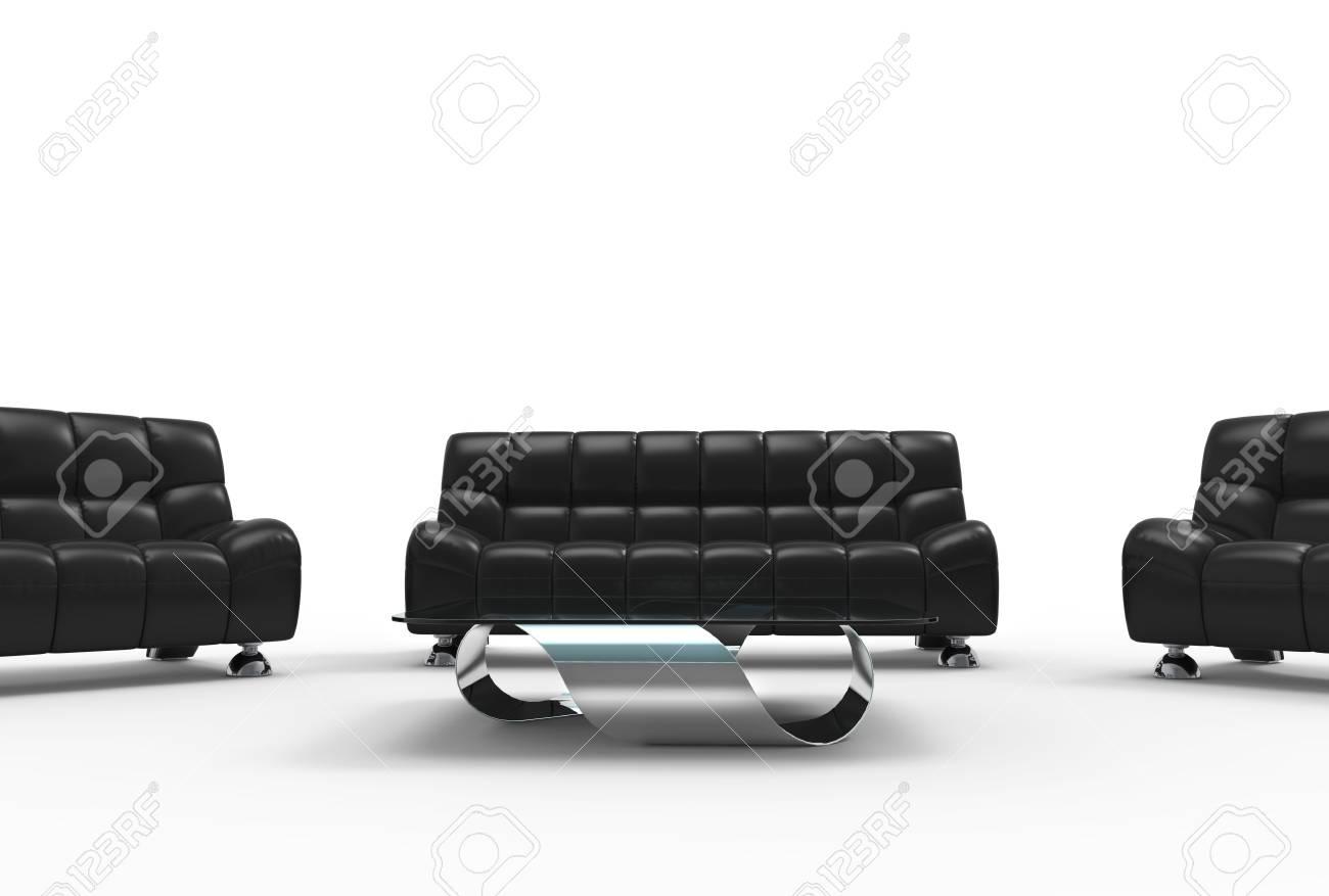 Modernes Wohnzimmer Ledermöbel Set Standard Bild   44869705